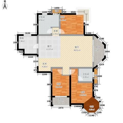 中润华侨城3室1厅2卫1厨167.00㎡户型图