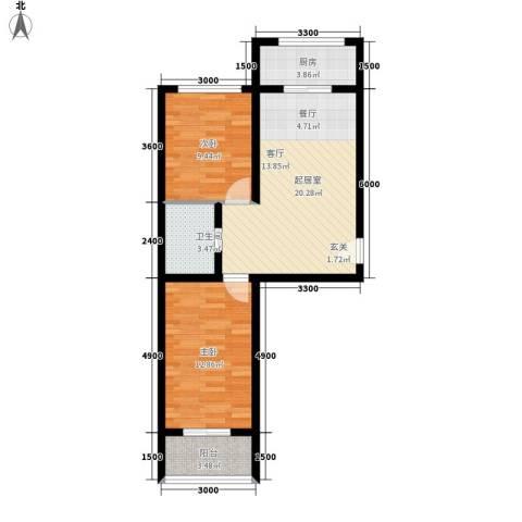 金丰.紫馨花园2室0厅1卫1厨77.00㎡户型图