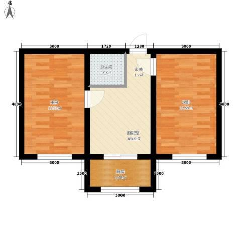 金丰.紫馨花园2室0厅1卫1厨60.00㎡户型图