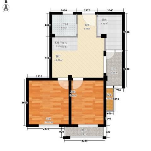 盛泽财富公寓2室1厅1卫1厨69.00㎡户型图