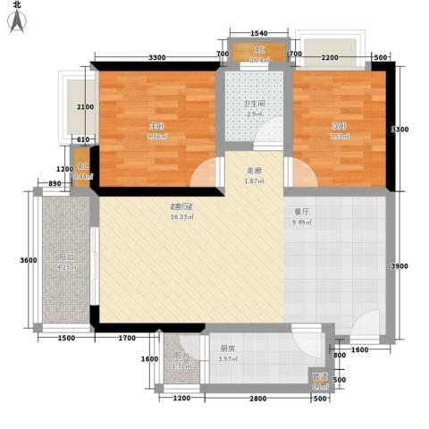 台湾花园2室0厅1卫1厨86.00㎡户型图