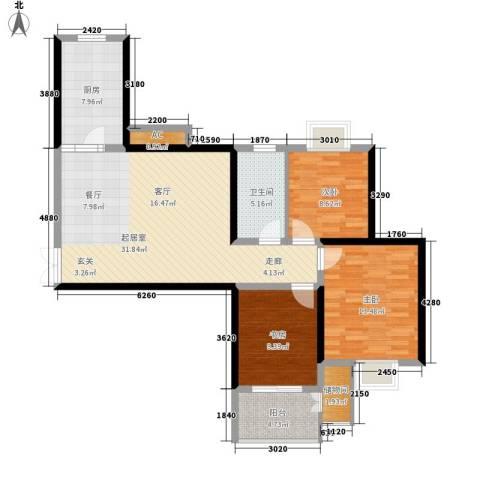 银象花园3室0厅1卫1厨118.00㎡户型图