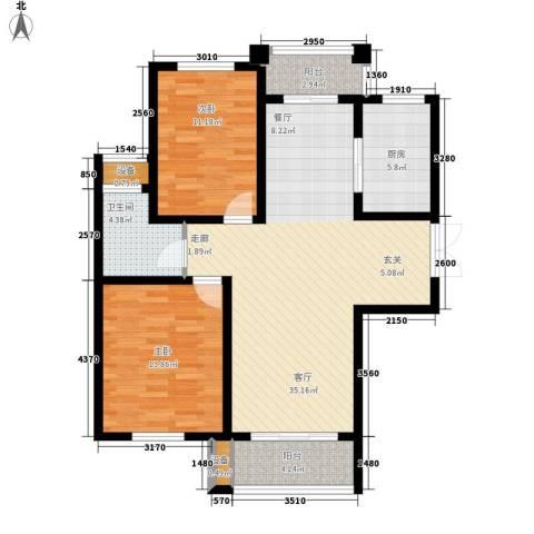 中润华侨城2室1厅1卫1厨114.00㎡户型图