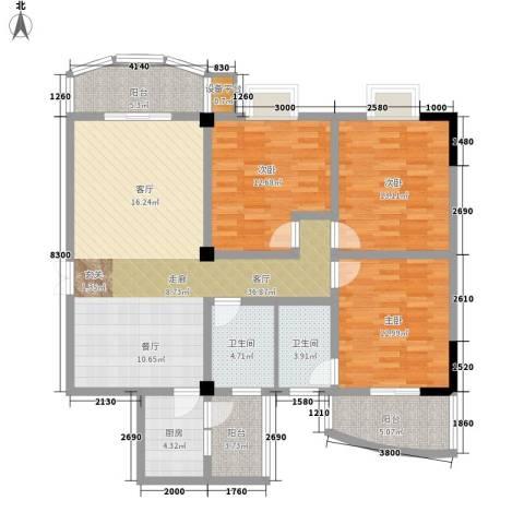 时代金贸3室1厅2卫1厨150.00㎡户型图