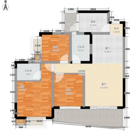 青河世家3室0厅2卫1厨88.00㎡户型图