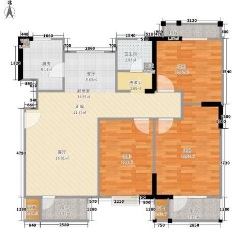 福源九方3室0厅1卫1厨116.00㎡户型图