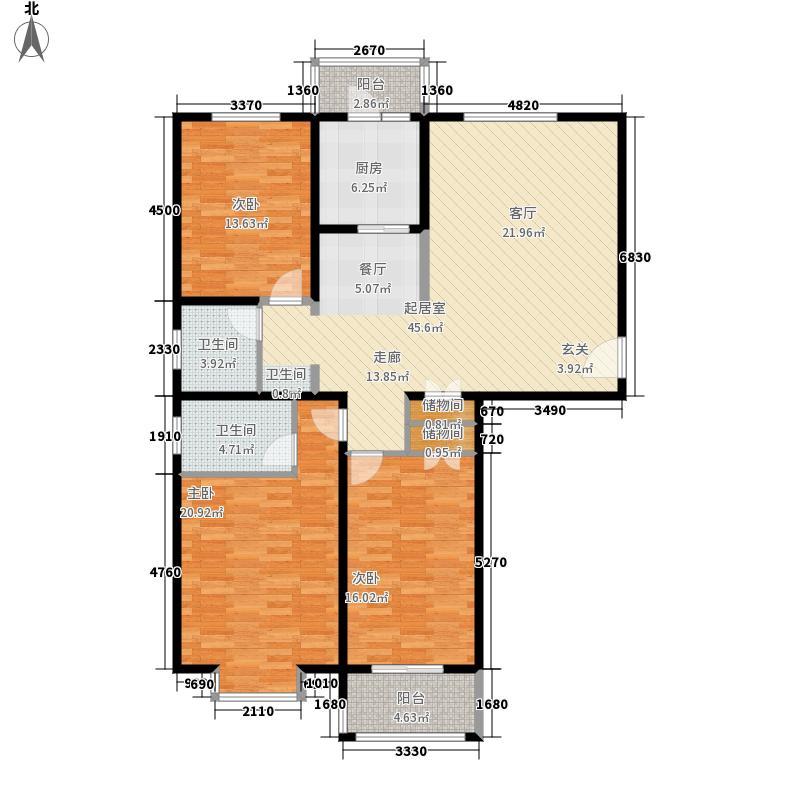 美巢蓝钻三室两厅两卫134㎡户型