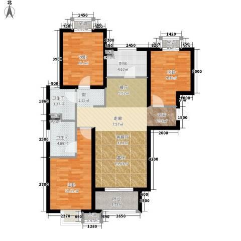 电视台家属院3室1厅2卫1厨118.00㎡户型图