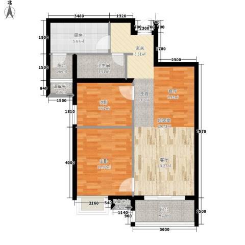 万达广场2室0厅1卫1厨94.00㎡户型图