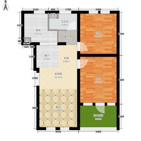 东市尚品2室0厅1卫1厨91.00㎡户型图