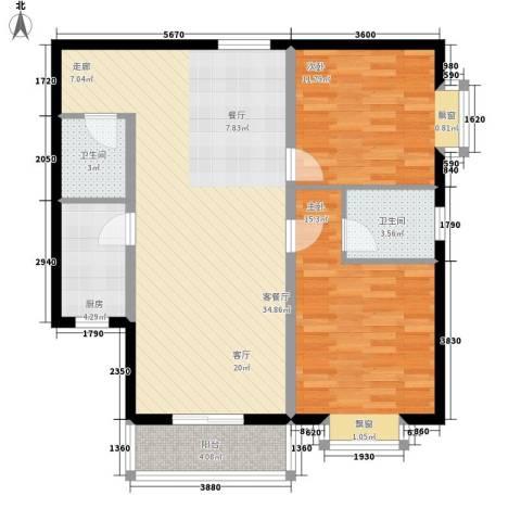 雅逸新城2室1厅2卫1厨109.00㎡户型图