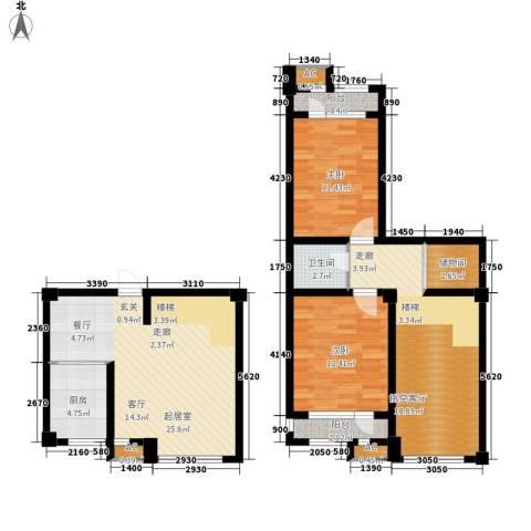 龙栖江南2室0厅1卫1厨123.00㎡户型图