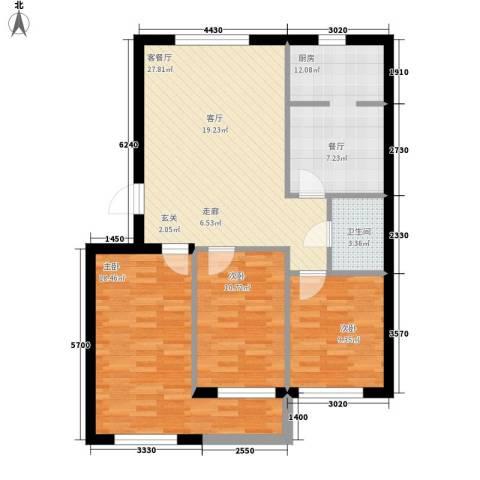 计量所家属院3室1厅1卫1厨116.00㎡户型图