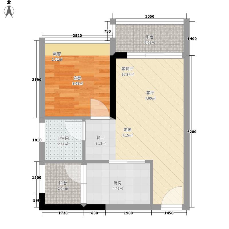 时尚明苑45.89㎡6栋标准层06单位面积4589m户型
