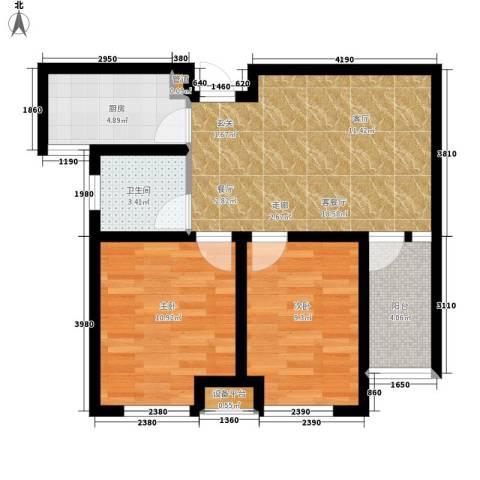宏泰·美树2室1厅1卫1厨77.00㎡户型图