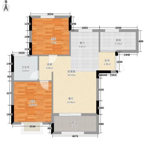 旺力・学府壹号2室0厅1卫1厨97.00㎡户型图