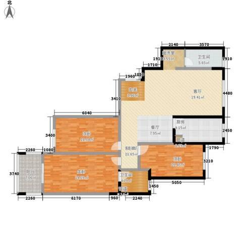 阳光嘉苑3室1厅2卫1厨160.00㎡户型图