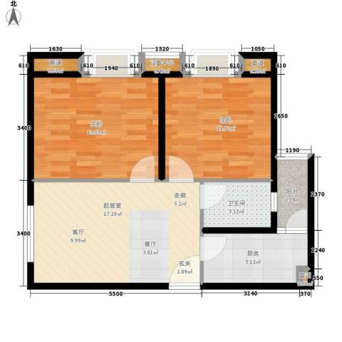时代庐山2室0厅1卫1厨76.00㎡户型图