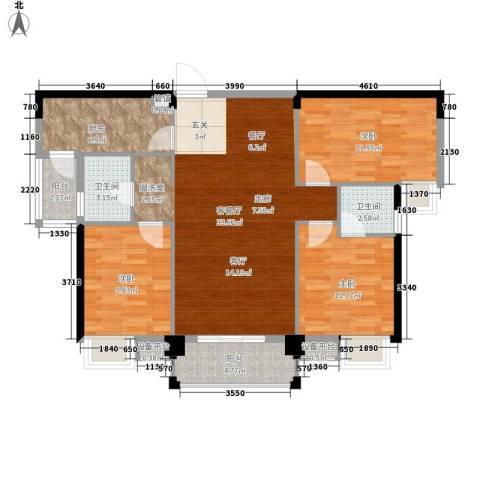 东城国际3室1厅2卫1厨124.00㎡户型图