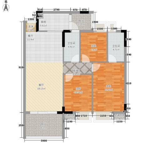 新时代家园3室1厅2卫1厨109.00㎡户型图