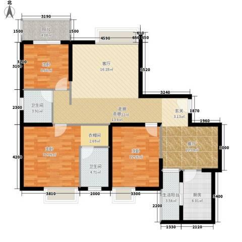 华城国际3室0厅2卫1厨143.00㎡户型图