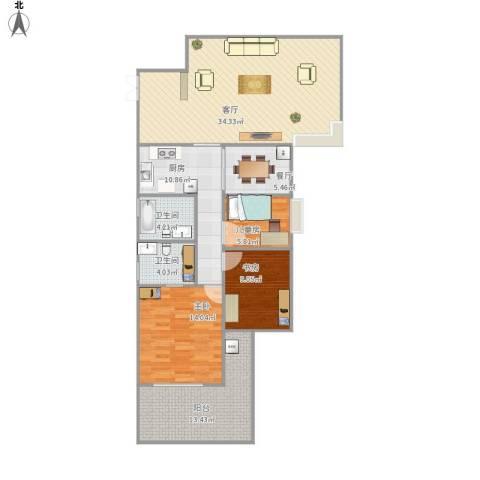 钰海名门3室2厅2卫1厨136.00㎡户型图