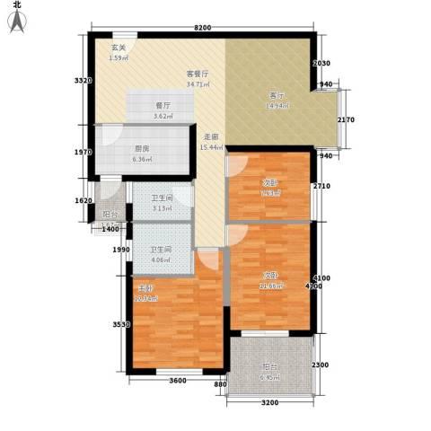 华城国际3室1厅2卫1厨124.00㎡户型图