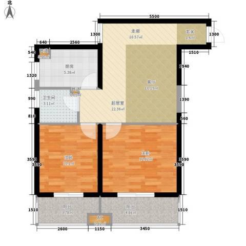 东岸阳光2室0厅1卫1厨90.00㎡户型图
