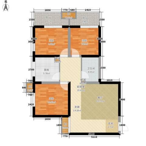 东岸阳光3室0厅1卫1厨110.00㎡户型图
