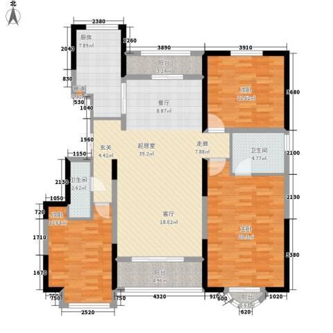华远海蓝城3室0厅2卫1厨137.00㎡户型图