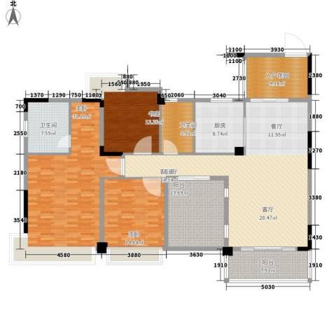 中铁山水天下3室1厅2卫1厨157.87㎡户型图