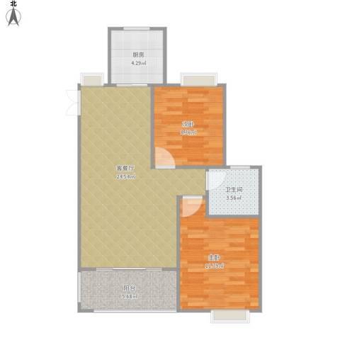 时代新城2室1厅1卫1厨62.91㎡户型图