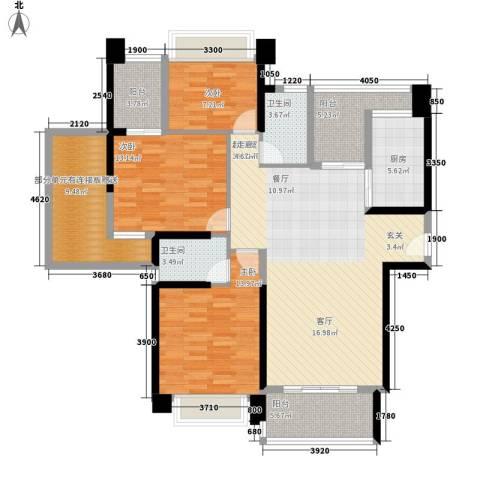 中澳滨河湾3室0厅2卫1厨133.00㎡户型图