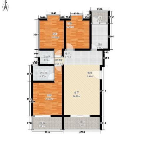 中华坊云岭3室0厅2卫1厨127.00㎡户型图