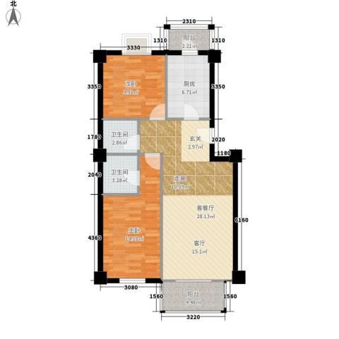 西航花园2室1厅2卫1厨100.00㎡户型图