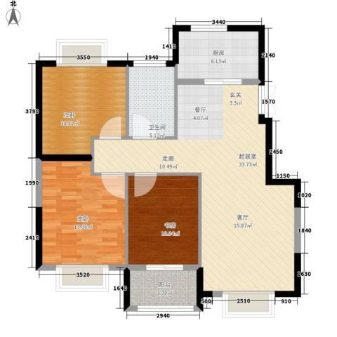 旺力・学府壹号3室0厅1卫1厨116.00㎡户型图