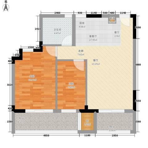 仁恒G53公寓2室1厅1卫0厨79.00㎡户型图