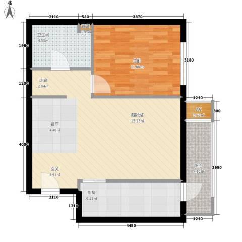 远洋里1室0厅1卫1厨51.89㎡户型图