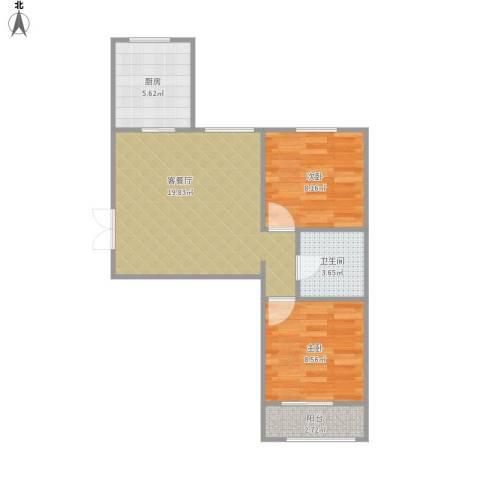 幸福家园2室1厅1卫1厨66.00㎡户型图