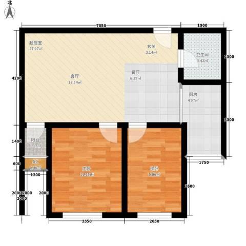 远洋里2室0厅1卫1厨108.00㎡户型图
