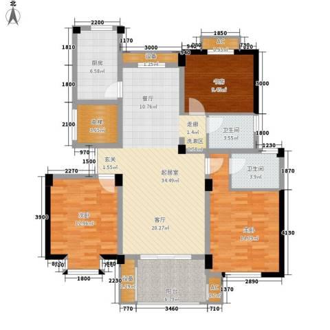 日月城三期中央世家3室0厅2卫1厨127.00㎡户型图
