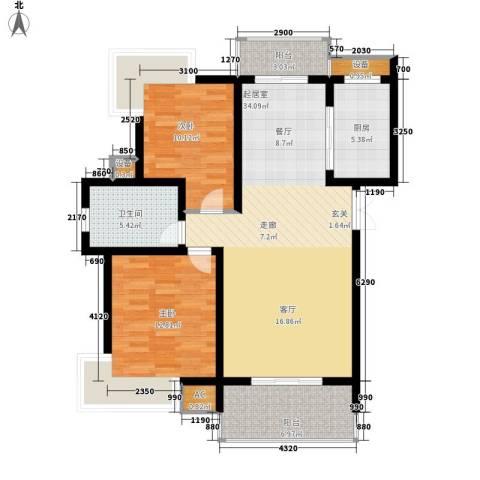 孔目江1号2室0厅1卫1厨92.00㎡户型图