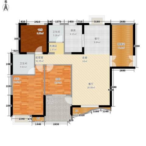 孔目江1号3室0厅2卫1厨128.00㎡户型图