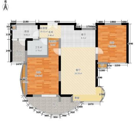 孔目江1号2室0厅1卫1厨99.00㎡户型图