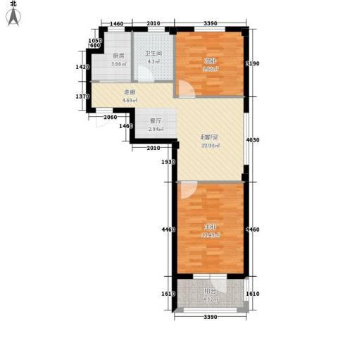 澳海澜庭2室0厅1卫1厨79.00㎡户型图