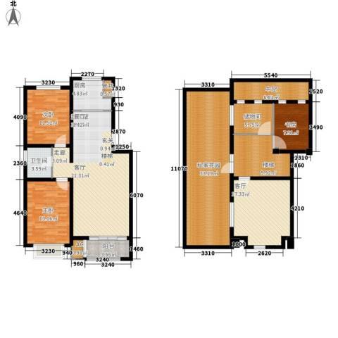 龙栖江南3室1厅1卫1厨153.00㎡户型图