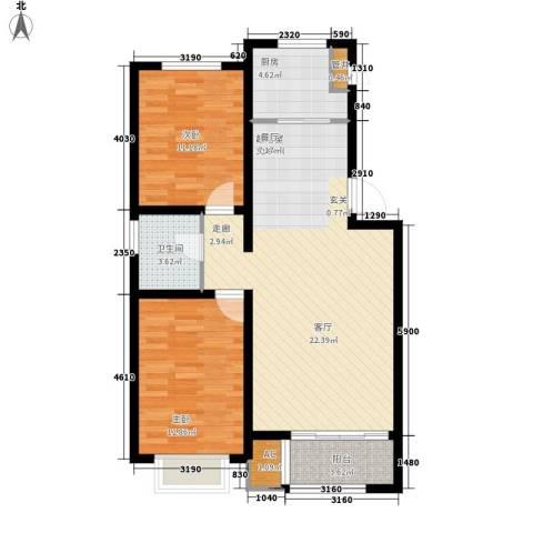 龙栖江南2室0厅1卫1厨89.00㎡户型图