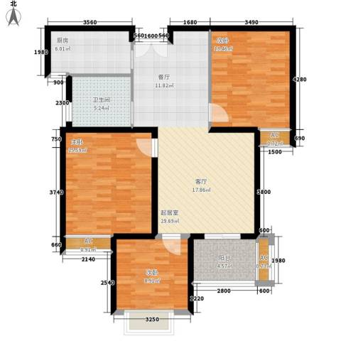 汉鼎瑞和园3室0厅1卫1厨98.00㎡户型图