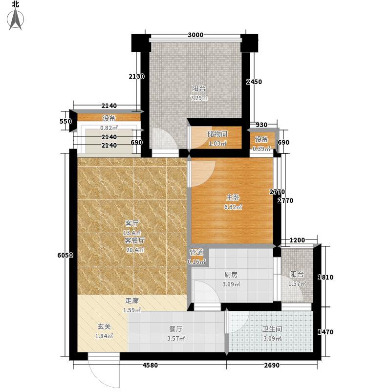 西城的湖51.00㎡一期1-4号楼A标准层户型