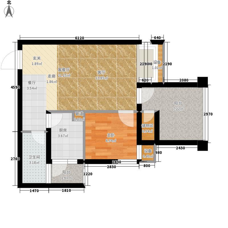 西城的湖52.00㎡一期2号楼标准层户型